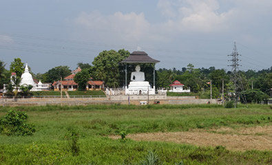 Buddhist temple seen from train