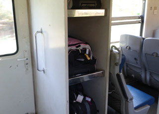 Luggage on a Sri Lankan train