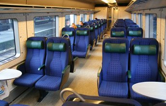 Seats on an Oresund link train to Malmo & Gothenburg