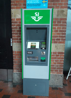 One of two SJ ticket machines at Copenhagen main station