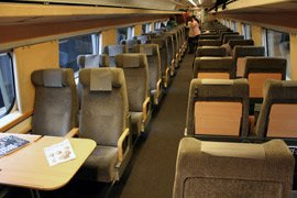 2nd class seats on the X2000 train from Copenhagen to Stockholm
