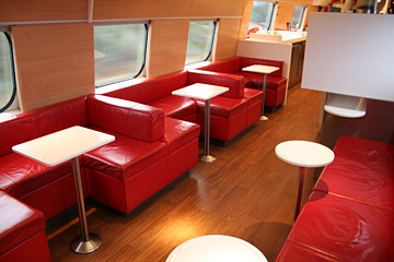 SJ2000 buffet car seating area