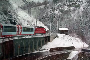 Scenery seen from the Glacier Express in winter...