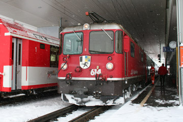 The locomotive is changed at Disentis...