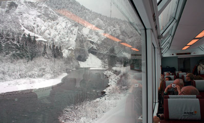 Glacier Express running through the Rhine Gorge...