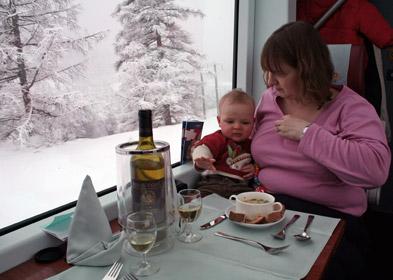 Lunch on the Glacier Express, served at your seat...