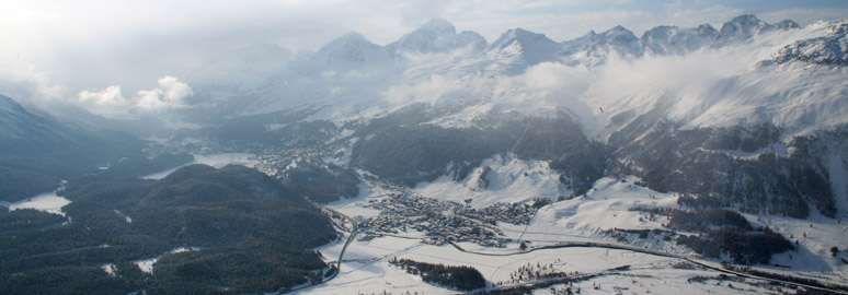 View over St Moritz from the Hotel Muottas Muragl