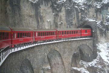 Glacier Express crossing the Landwasser Viaduct
