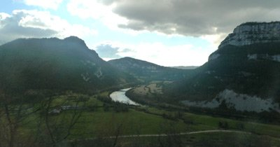 Scenery along the Haut-Bugey line, seen from the Geneva to Paris train
