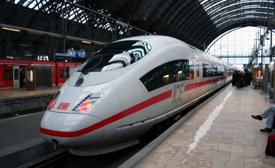 ICE train from the Netherlands to Germany at Frankfurt hauptbahnhof