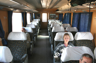 1st class seats on the Aleppo - Damascus express train.