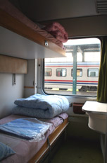 A 2-berth compartment in the Istanbul-Aleppo (Syria) train.
