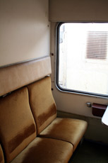 A 2-bed sleeper in the Istanbul-Aleppo train, with beds folded away and seats folded out.