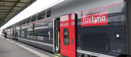 "A TGV-Lyria Duplex at Paris Gare de Lyon"" width=""457"" height=""200"