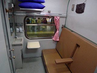 2-berth sleeper on Thai train, in daytime mode