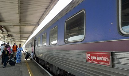 2nd class sleepers on the International Express train from Bangkok to Butterworth (Penang), arrived at Butterworth