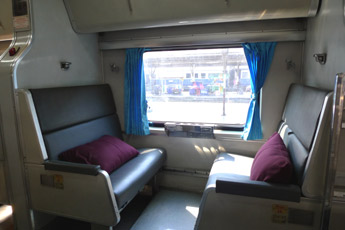 2nd class sleeper on a Thai train, in daytime mode.