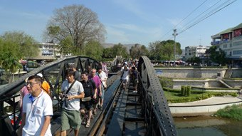 Tourists walking across the Bridge on the River Kwai...