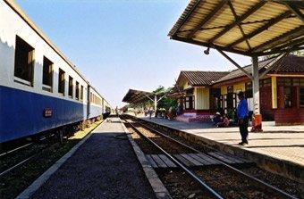 The train from Bangkok has arrived at Kanchanaburi station