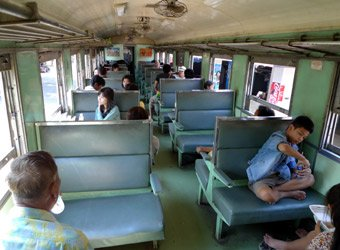 3rd class seats on the train from Bangkok to Kanchanaburi, The Bridge on the River Kwai & Nam Tok...
