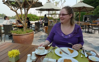 Breakfast on the terrace at the Oriental Hotel, Bangkok