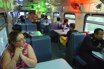 Restaurant car on the train from Bangkok to Chiang Mai