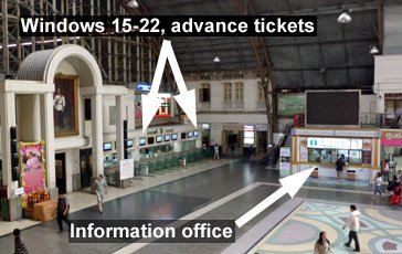 The ticket office at Bangkok's Hualamphong station