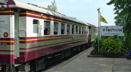 A 3rd class train from Kanchanaburi to Bangkok.