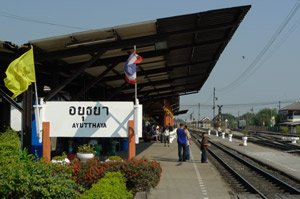 Take the train from Bangkok to Ayutthaya.  This is Ayutthaya station.