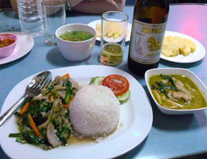 Another set meal served in the restaurant car on a Thai train