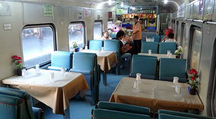 Restaurant car on the train from Bangkok to Hat Yai