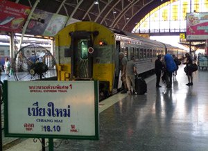 Take the train from Bangkok to Chiang Mai.  Train 1 waits to leave Bangkok.