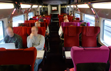 2nd class seats on a Thalys train from Paris to Amsterdam