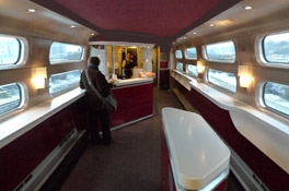 Cafe-bar car on a refurbished Thalys high-speed train