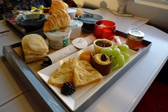 Breakfast served in first class on Thalys trains