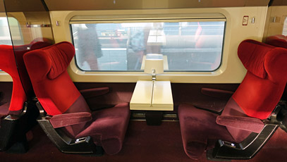 A table for two in 1st class on a Thalys train from Paris to Amsterdam