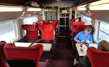 1st class seats oin a Thalys train from Paris to Amsterdam