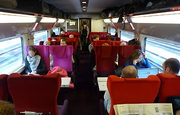 2nd class seats oin a Thalys train from Paris to Amsterdam