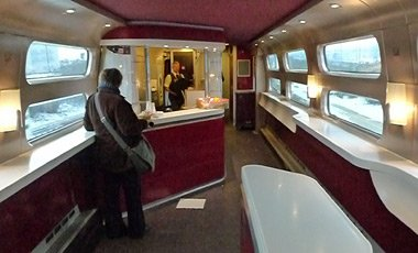 Cafe-bar car on a Thalys high-speed train