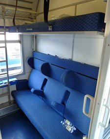 4 or 6-berth couchette compartment, with seats folded out, on the Thello sleeper trains from Paris to Venice...