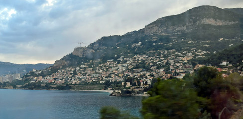 Coastline seen from the Thello train from Nice to Milan