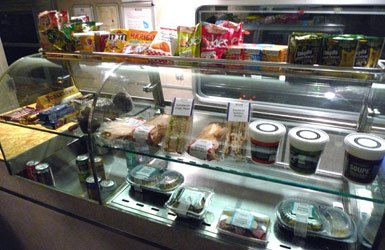 Food in the Thello sleeper train's buffet car