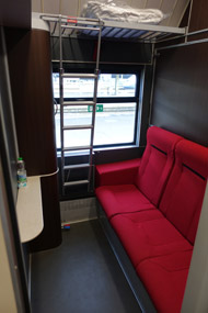 1, 2 or 3-bed sleeper, in evening mode, on the Paris-Venice Thello overnight train...