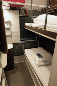 2-bed sleeper, night mode, on the Paris-Florence/Rome overnight train...