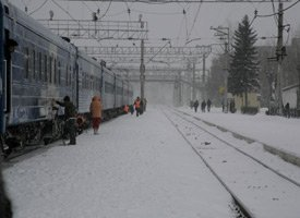 The 'Baikal' train from St Petersburg to Irkutsk, in winter
