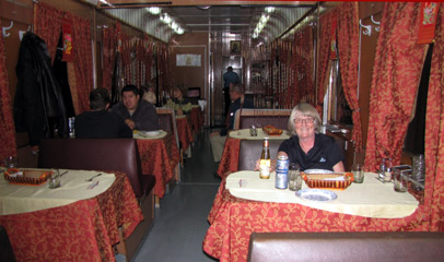 Russian restaurant car attached to train 4