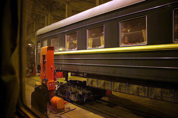 Train 23 Ulan Bator to Beijing in the gauge-changing shed at Erlan