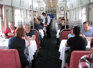 Chinese restaurant car attached to train 4 whilst in China