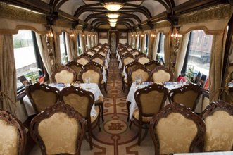 Restaurant car on the Trans-Siberian private train