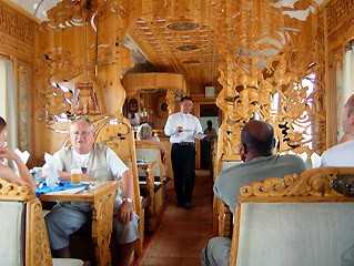Mongolian restaurant car attached to train 4